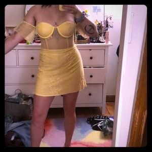 Sexy Yellow Bustier Dress